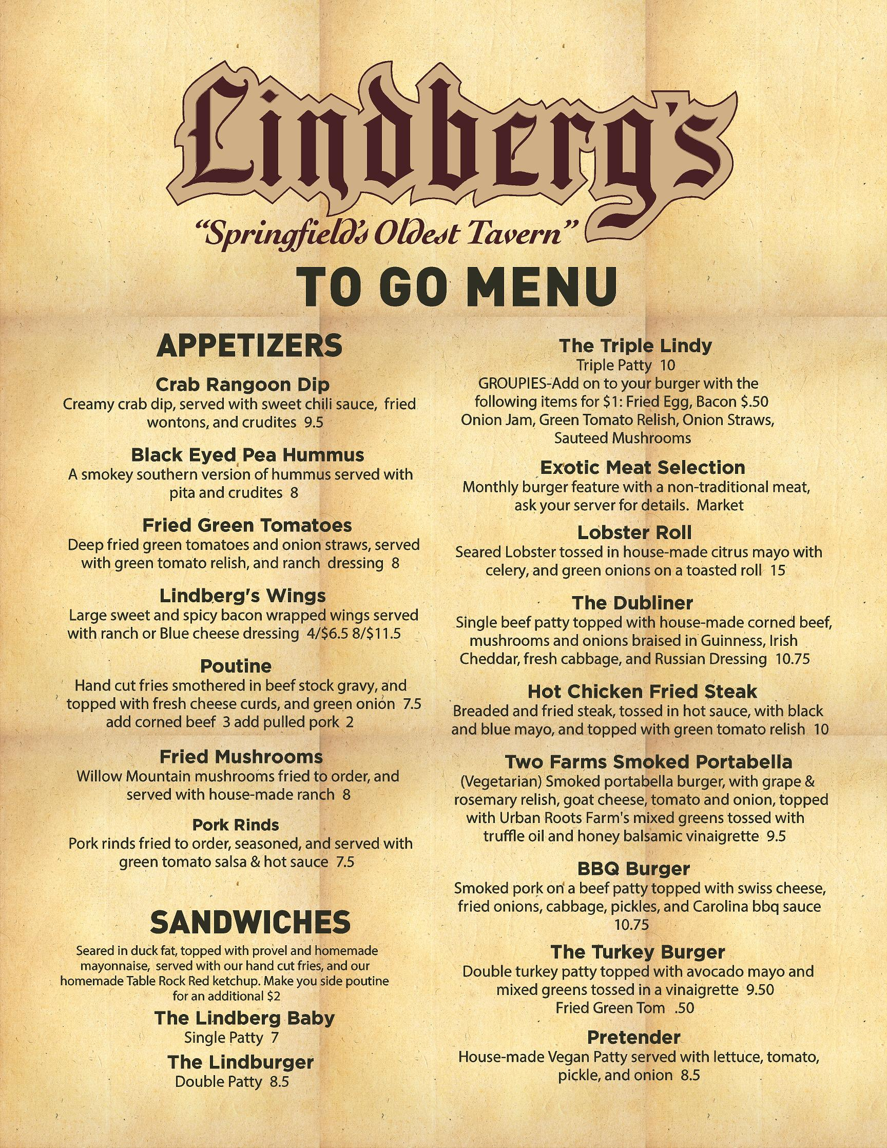 To Go Menu Side 1